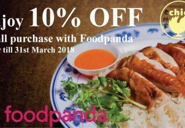 ENJOY 10% OFF on all purchase with FOODPANDA