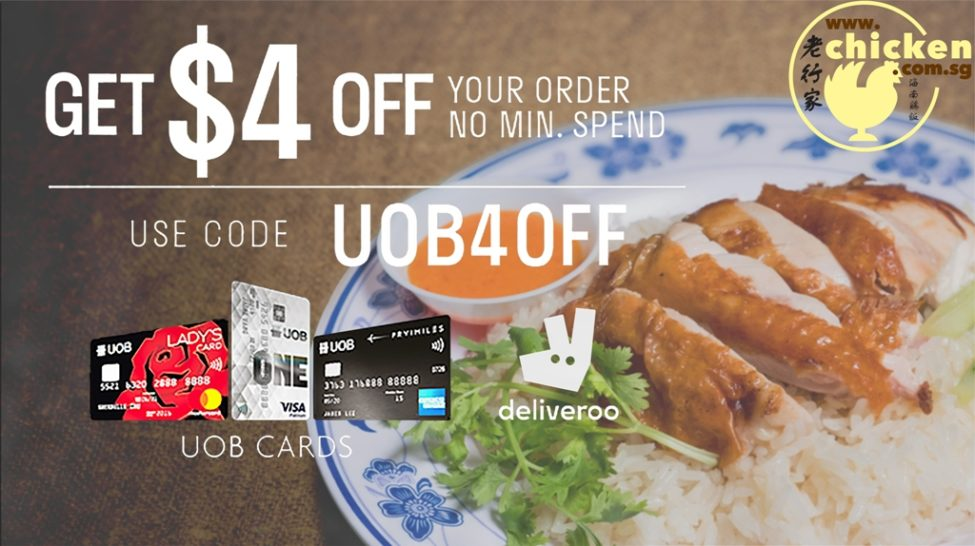 Deliveroo offer $4 off your meal with UOB card , Just enter code UOB4OFF